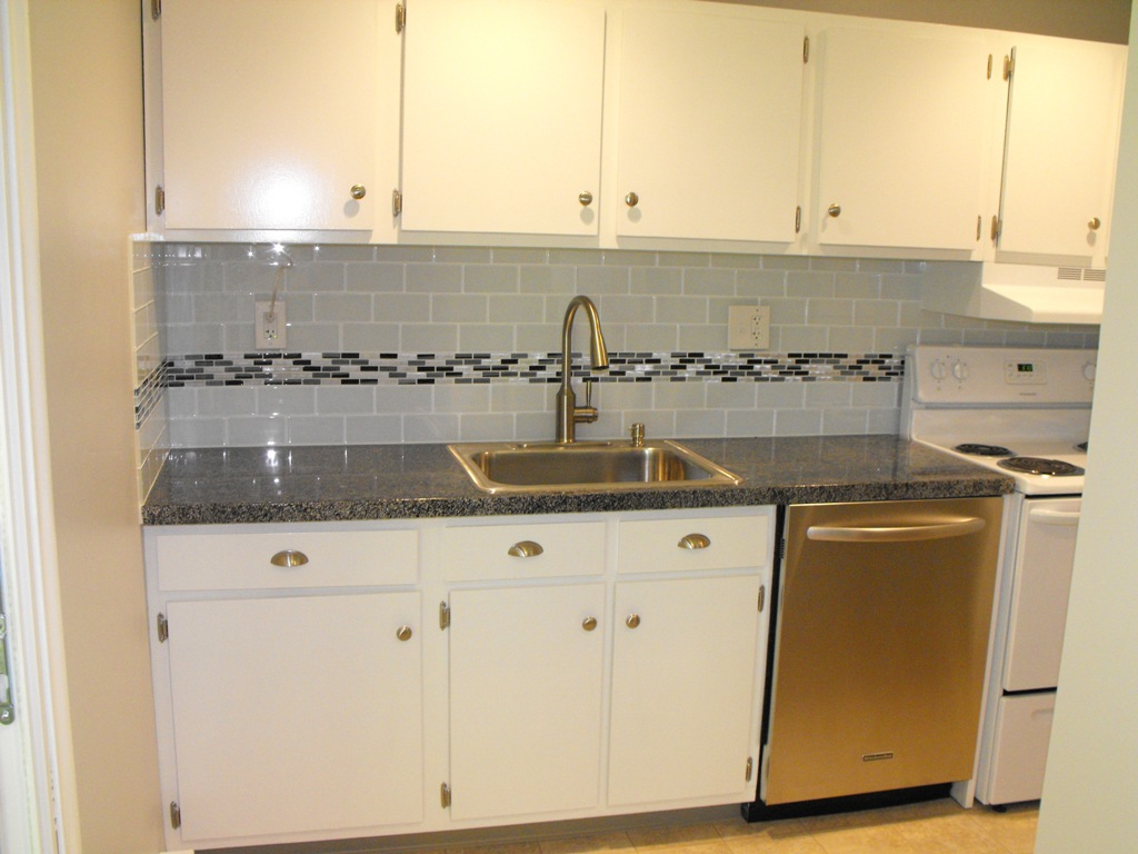 Rough diamond properties kitchen remodels glass subway tile backsplash with glass mosaic accent row dailygadgetfo Images